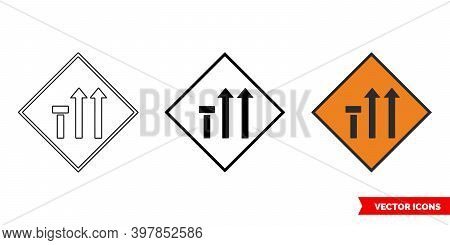 Nearside Lane Of Three Closed Roadworks Sign Icon Of 3 Types Color, Black And White, Outline. Isolat