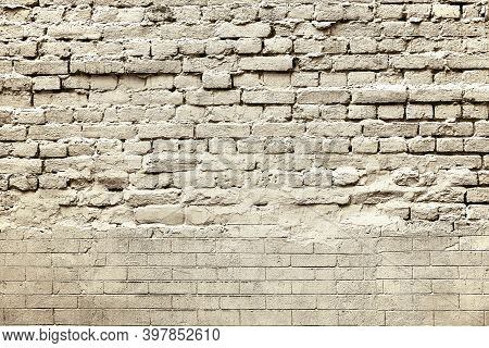 Abstract Coarse Retro Brick Texture For Vintage And Loft Background Of Beige Tone