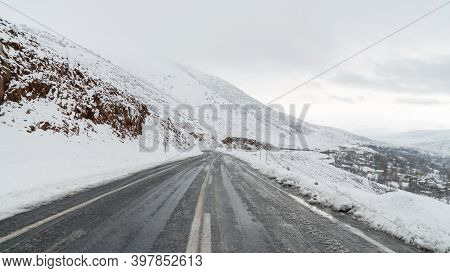 Road With Winter Landscape With Snow In Eastern Anatolia, Bitlis, Turkey