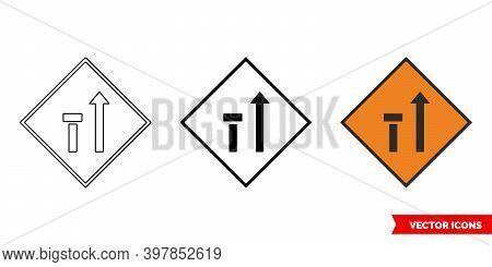 Nearside Lane Of Two Closed Roadworks Sign Icon Of 3 Types Color, Black And White, Outline. Isolated