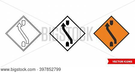 One Lane Crossover Back Roadworks Sign Icon Of 3 Types Color, Black And White, Outline. Isolated Vec