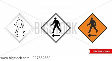 Pedestrian Cross To Left Roadworks Sign Icon Of 3 Types Color, Black And White, Outline. Isolated Ve