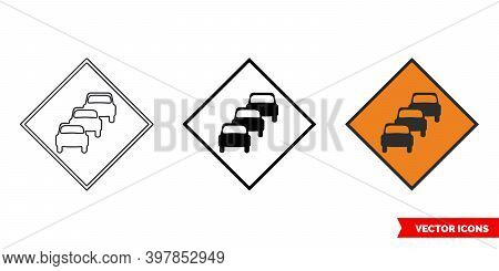 Queues Likely Roadworks Sign Icon Of 3 Types Color, Black And White, Outline. Isolated Vector Sign S