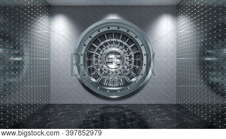 interior of a vault with steel door and safety deposit boxes, black marble floor. 3d render.