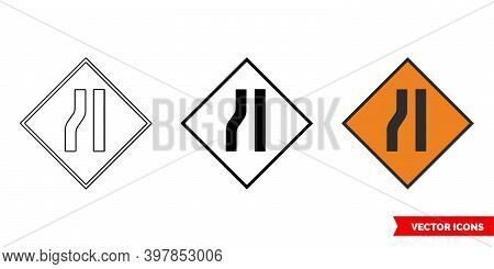 Road Narrows On Left Roadworks Sign Icon Of 3 Types Color, Black And White, Outline. Isolated Vector