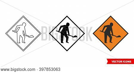 Roadworks Ahead Sign Icon Of 3 Types Color, Black And White, Outline. Isolated Vector Sign Symbol.