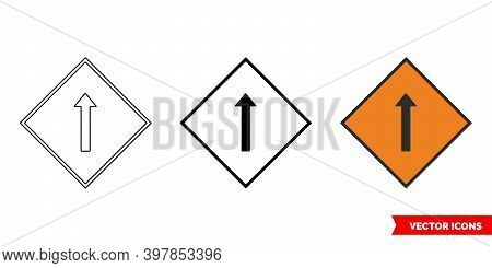 Single Lane For Shuttle Working Roadworks Sign Icon Of 3 Types Color, Black And White, Outline. Isol