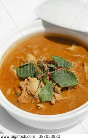Thai Spicy Panang Pork Curry With Coconut Milk On Restaurant Table In Phuket Thailand