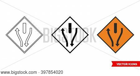 Start Of Central Reserve Or Obstruction Roadworks Sign Icon Of 3 Types Color, Black And White, Outli