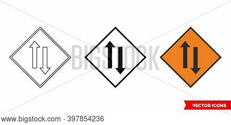 Two Way Traffic Roadworks Sign Icon Of 3 Types Color, Black And White, Outline. Isolated Vector Sign