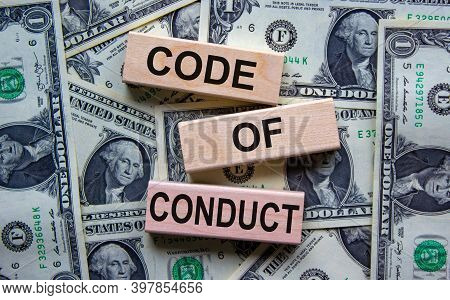 Code Of Conduct Symbol. Concept Words 'code Of Conduct' On Wooden Blocks On A Beautiful Background F