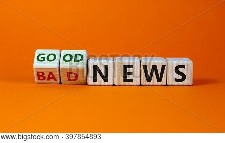 Good Or Bad News Concept. Fliped Cubes And Changed The Words 'bad News' To 'good News'. Beautiful Or