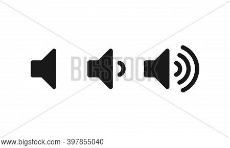 Sound Volume Icons. Vector Isolated Sound Volume Up, Down Or Mute Control Buttons Set. Vector Eps 10