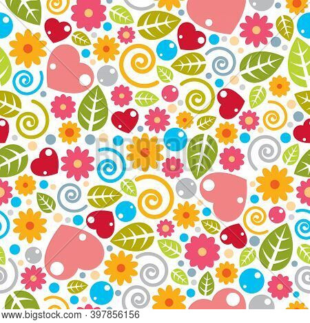 Childish Textile Vector Seamless Pattern With Flowers And Leaves, Different Colorful Elements Endles