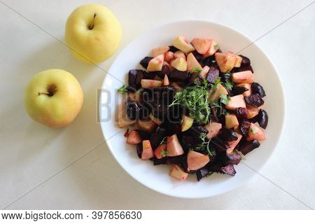 Beetroot Apple Salad Made With Beetroot Cubes Sautéed Or Air Fried With Olive Oil And Salt And Tosse