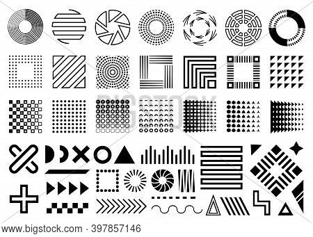 Vector Memphis, Set Of Abstract Geometric Shapes, Ornamental Shapes, Waves, Seamless Patterns, Geome