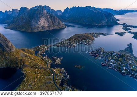 Reinebringen Landscape Scenery In Reine, Lofoten, Norway
