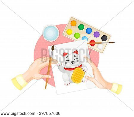 Arm Painting Beckoning Cat With Brush And Watercolour Vector Illustration