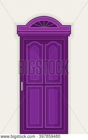 Arched Purple Door As Building Entrance Exterior Vector Illustration