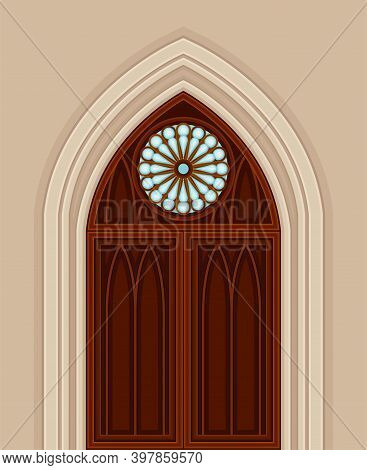 Gothic Double Door With Pointed Arch And Circle Window As Ancient Building Entrance Exterior Vector