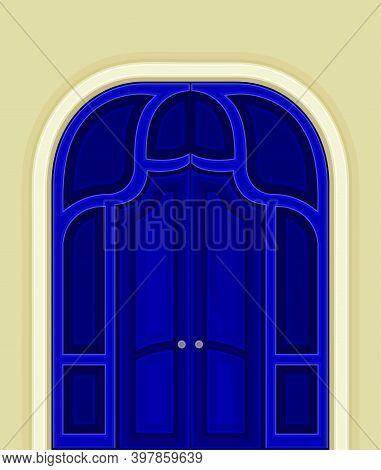 Arched Blue Double Door As Building Entrance Exterior Vector Illustration