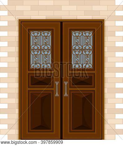 Wooden Double Door With Ornamental Window And Doorknob As Building Entrance Exterior Vector Illustra