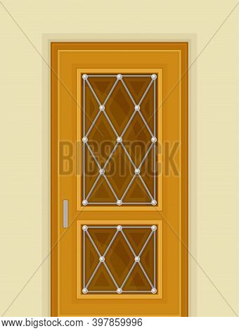 Wooden Door With Window And Rhombus Ornate As Building Entrance Exterior Vector Illustration