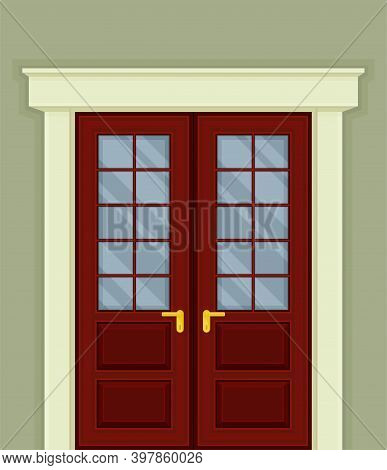 Double Door With Glass Window And Doorknob As Building Entrance Exterior Vector Illustration