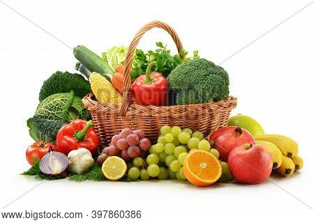 Wicker Baskets With A Wide Variety Of Groceries Including Vegetables, Fruit And Beer