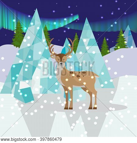 Landscape With Reindeer, Icy Mountains And Northern Lights, The Birthplace Of Santa Claus And Santa