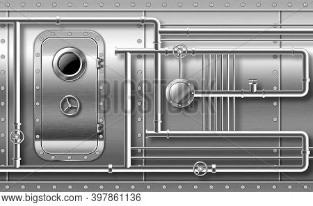 Metal Door With Porthole On Wall With Pipes, Valves And Rivets. Bunker Close Entrance. Ship Or Secre