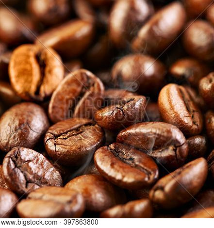 Delicious Coffee Beans. Texture Of Coffee Beans, Brown Roasted Coffee Beans. Coffe Lover