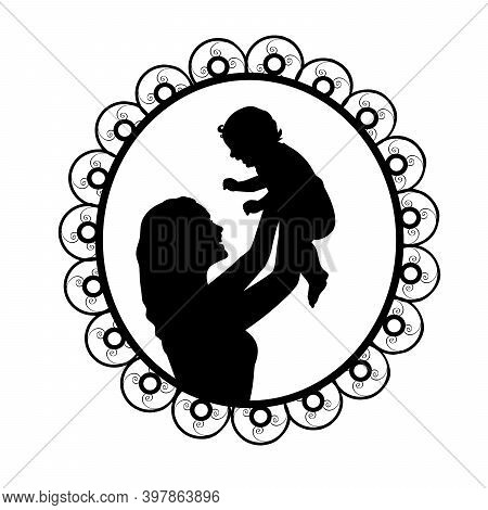 Silhouette In Frame Mother Holding Newborn Baby In Air. Illustration Symbol Icon