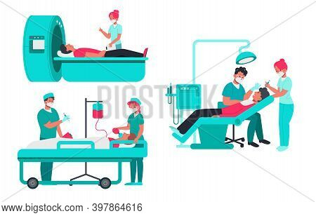 Set Of Doctors Examines Patient. People At Mri Scan, Examination By Dentist And Patient Connected To