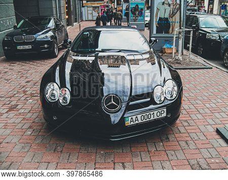 Kiev, Ukraine - March, 2011: Black Mercedes-benz Slr Mclaren In The City
