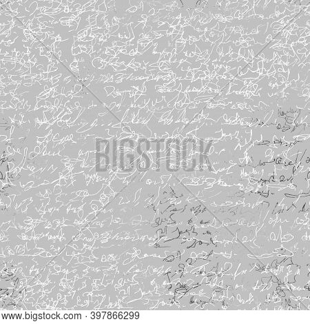 Seamless Patern With Imaginary Abstract Handwritten Text. Black Ink Isolated On White Background. Go