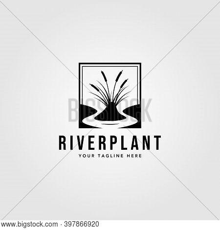 River Plant Cattail Logo Vector Vintage Illustration Design