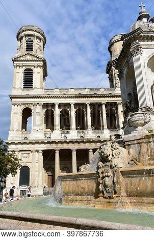 Paris, France. August 12, 2019. Eglise Saint-sulpice De Paris Neoclassical Facade And Towers With Fo