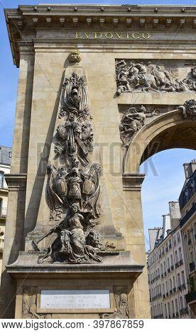 Paris, France. August 16, 2019. Porte Saint-denis, Triumphal Arch Erected By Louis Xiv On 1672.