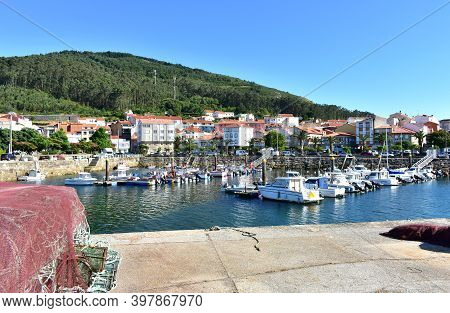 Porto Do Son, Spain. July 3, 2020. Small Fishing Village At Famous Rias Baixas Region. Coruña Provin