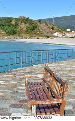 Beach Promenade With Wooden Benches. Playa De San Pedro (playa De O Pindo). Carnota, Rias Baixas, Co