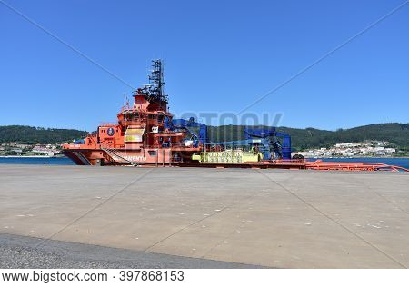 Corcubion, Spain. July 11, 2020. Spanish Rescue Vessel Known As Salvamento Maritimo At Galician Harb