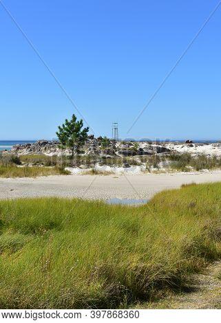 Famous Carnota Beach Or Playa De Carnota, The Largest Galician Beach At Famous Rias Baixas Region. C
