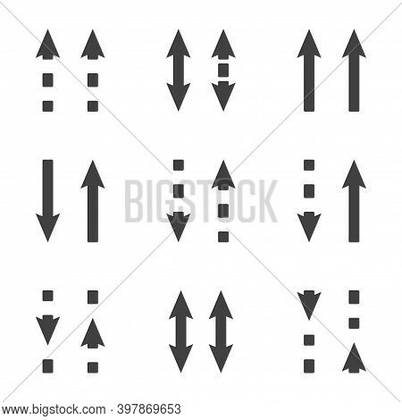 Direction Arrows Icons Set. Straight And Dashed Arrows In The Same And Different Directions. Simple