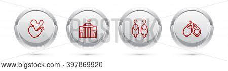Set Line Spanish Wineskin, Prado Museum, Earrings And Castanets. Silver Circle Button. Vector