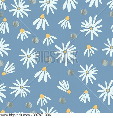 White Daisies Seamless Pattern On A Yellow Background. Daisy Field.