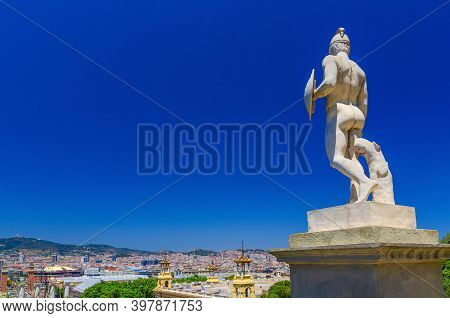 Ancient Statue Monument On Palau Nacional Or National Palace Of Montju C Building In Barcelona City