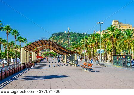 Barcelona, Spain, June 11, 2017: Promenade Embankment Of Barcelona With Wooden Construction, Alley O