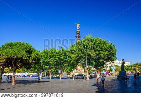 Barcelona, Spain, June 11, 2017: Columbus Monument To Christopher Columbus At Lower End Of La Rambla