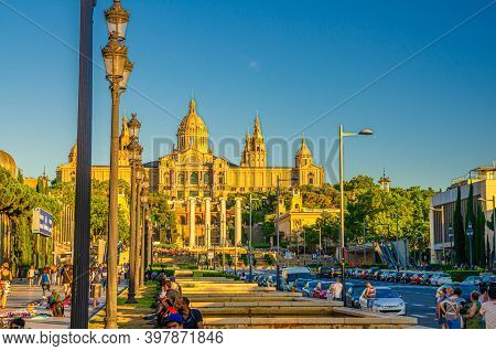 Barcelona, Spain, June 12, 2017: Palau Nacional Or National Palace Of Montju C And National Art Muse